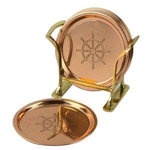 Coaster set (6) - ship's wheel, copper
