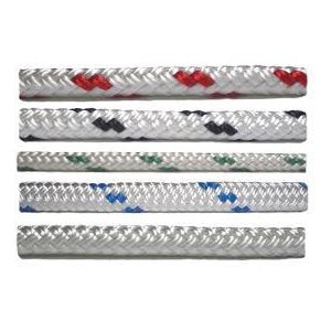"Double braid polyester 3 / 8"" (9.5 mm) white with red trace"