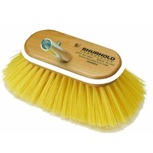"""Deck brush 6"""" with medium yellow polystyrene bristles easily and positively locks into any Shurhold handle"""