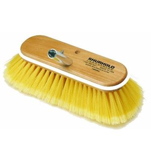"""Deck brush 10"""" with soft yellow polystyrene bristles, easily and positively locks into any Shurhold handle"""