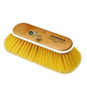 """Deck brush 10"""" with medium yellow polystyrene bristles , easily and positively locks into any Shurhold handle"""
