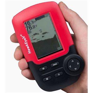 Hawkeye FishTrax portable fish finder with dot matrix display