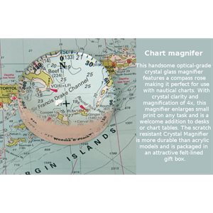 """Chart magnifier with compass rose, crystal 3"""" x 1.7"""""""