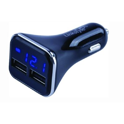 Double USB power plug with voltmeter and ampmeter