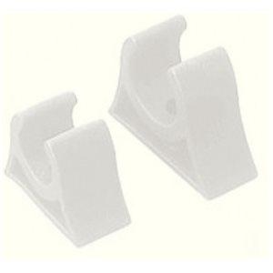 """Support de gaffe blanc moulé en caoutchouc 1-3 / 4"""" x 1-1 / 4"""" x 3 / 4"""" dia. paire"""
