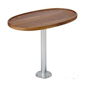 """Table ovale en teck 28 """"x 15"""" avec piédestal escamotable"""