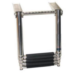 Ladder telescopic 4 step with handle at top stainless