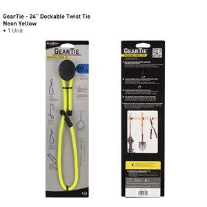 Gear tie attaches ancrable réutilisables en caoutchouc 24'' - jaune