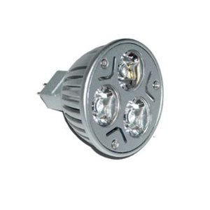 Bulb MR16 with 3 X 1W warm light white LEDs 60° spot
